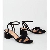Black Suedette Square Toe Block Heel Sandals New Look