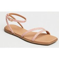 Pink Faux Croc Strappy Square Toe Sandals New Look Vegan