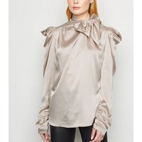 Cameo Rose Stone Satin Puff Sleeve Blouse New Look