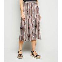 JDY Multicoloured Aztec Stripe Midi Skirt New Look