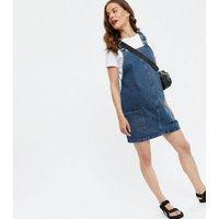 Maternity Blue Denim Pocket Pinafore Dress New Look