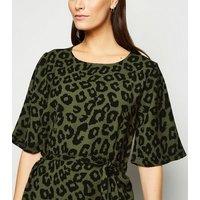 JDY Olive Leopard Print Midi Dress New Look
