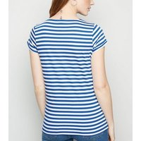 Maternity Blue Stripe Short Sleeve T-Shirt New Look
