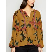 JDY Yellow Floral Chiffon Blouse New Look