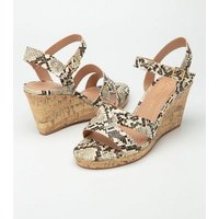 Wide Fit Stone Faux Snake Cork Wedges New Look