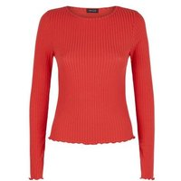 Red Ribbed Frill Trim Top New Look