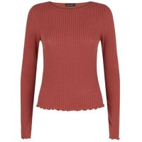 Dark Red Ribbed Frill Trim Top New Look