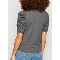 Grey Fine Knit Embellished Ruched Sleeve T-Shirt New Look