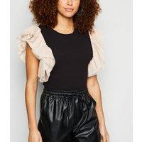 Honey Behave Black Ribbed Organza Sleeve Bodysuit New Look