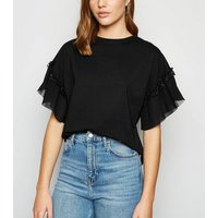 Black Pleated Sleeve T-Shirt New Look