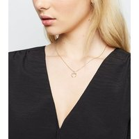 Gold Diamante Crescent Pendant Necklace New Look
