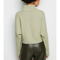 Light Green Ribbed Roll Neck Crop Jumper New Look