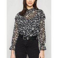 Black Chiffon Floral Shirred Neck Ruffle Blouse New Look