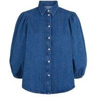 Blue Puff Sleeve Denim Shirt New Look