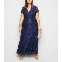 Mela Curves Navy Sequin Maxi Dress New Look