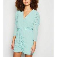 AX Paris Turquoise Chiffon Frill Trim Dress New Look
