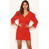 AX Paris Red Chiffon Frill Trim Dress New Look