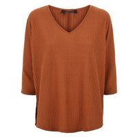 Rust Brushed Fine Knit Batwing Jumper New Look