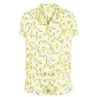 Girls White Lemon Print Shirt Pyjama Set New Look