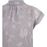 Pale Grey Floral Burnout Metallic Stripe Top New Look