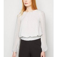 White Chiffon Spot Shirred Hem Blouse New Look