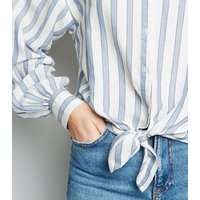 Blue Stripe Tie Front Shirt New Look