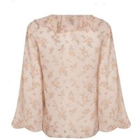 Pale Pink Floral Chiffon Frill Blouse New Look