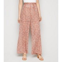 Off White Floral Chiffon Wide Leg Trousers New Look