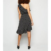 AX Paris Black Polka Dot Frill Trim Dress New Look