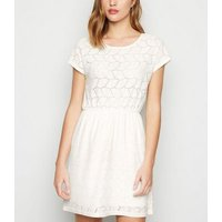 JDY White Crochet Mini Dress New Look