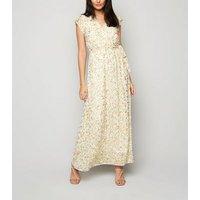 Blue Vanilla Mint Green Metallic Floral Maxi Dress New Look