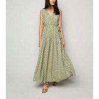 Blue Vanilla Mint Green Metallic Spot Maxi Dress New Look
