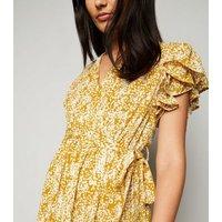 Blue Vanilla Mustard Metallic Floral Maxi Dress New Look