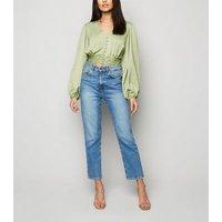Blue Vanilla Mint Green Puff Sleeve Blouse New Look