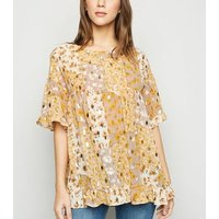 Blue Vanilla Yellow Floral Frill Smock Top New Look