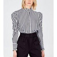 Blue Vanilla Black Stripe Puff Sleeve Blouse New Look