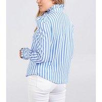 Blue Vanilla Blue Stripe Puff Sleeve Blouse New Look
