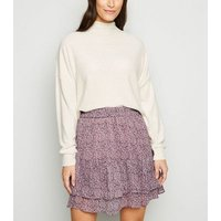 JDY Lilac Chiffon Ditsy Floral Mini Skirt New Look