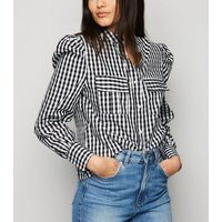 Blue Vanilla Black Check Puff Sleeve Shirt New Look