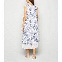 Blue-Vanilla-Blue-Tropical-Dip-Hem-Midi-Dress-New-Look