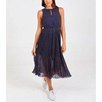 Blue Vanilla Navy Spot Pleated Midi Dress New Look