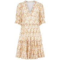 Blue Vanilla Orange Floral Smock Dress New Look