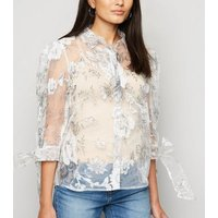 Blue Vanilla White Floral Organza Blouse New Look