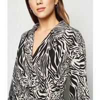 Blue Vanilla Black Zebra Print Collared Dress New Look