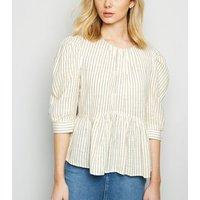 Off White Stripe Puff Sleeve Peplum Top New Look