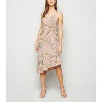 Blue Vanilla Pink Floral Asymmetric Midi Dress New Look