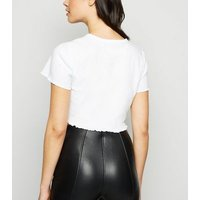 Noisy May White Slogan Crop Top New Look