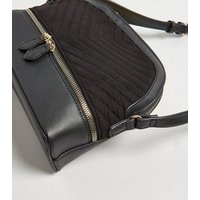 Black Leather-Look Quilted Cross Body Bag New Look Vegan