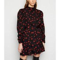 Influence-Black-Heart-Print-Frill-Mini-Dress-New-Look