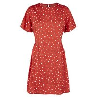 Influence-Rust-Spot-Smock-Dress-New-Look